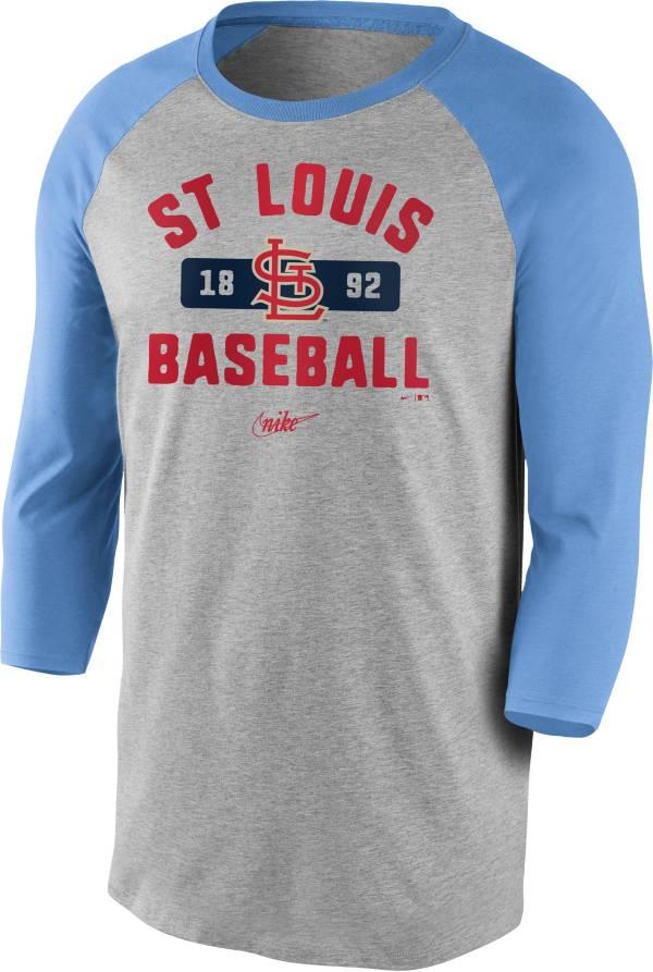 Nike Men's St. Louis Cardinals Grey Cooperstown Vintage Raglan Three-Quarter Sleeve T-Shirt product image