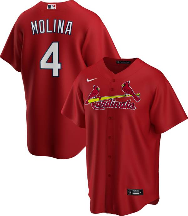 Nike Men's Replica St. Louis Cardinals Yaider Molina #4 Red Cool Base Jersey product image