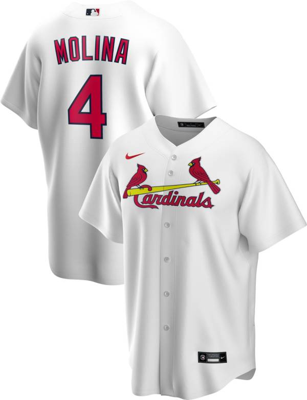 Nike Men's Replica St. Louis Cardinals Yaider Molina #4 White Cool Base Jersey product image