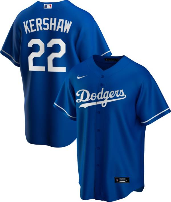 Nike Men's Replica Los Angeles Dodgers Clayton Kershaw #22 Blue Cool Base Jersey product image