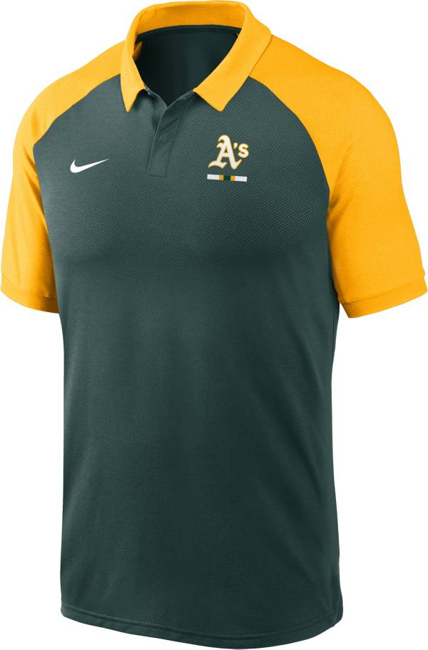 Nike Men's Oakland Athletics Green Dri-FIT Legacy Raglan Polo product image