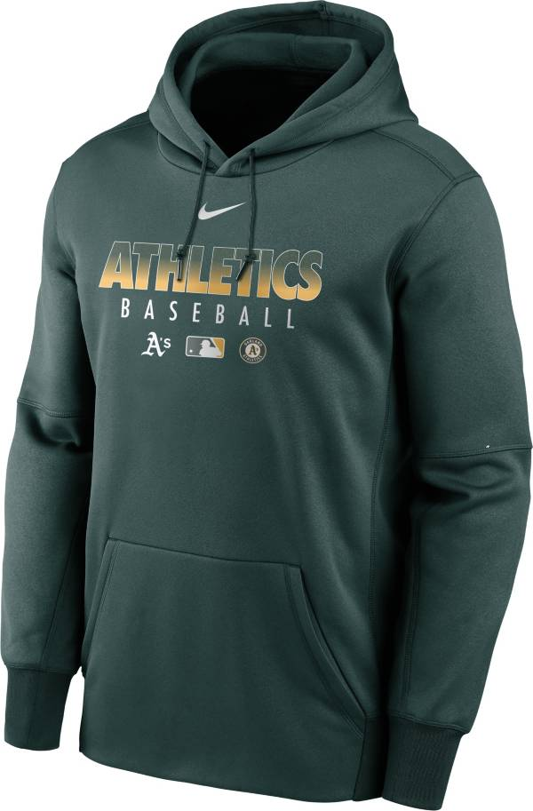 Nike Men's Oakland Athletics Green Dri-FIT Therma Pullover Hoodie product image
