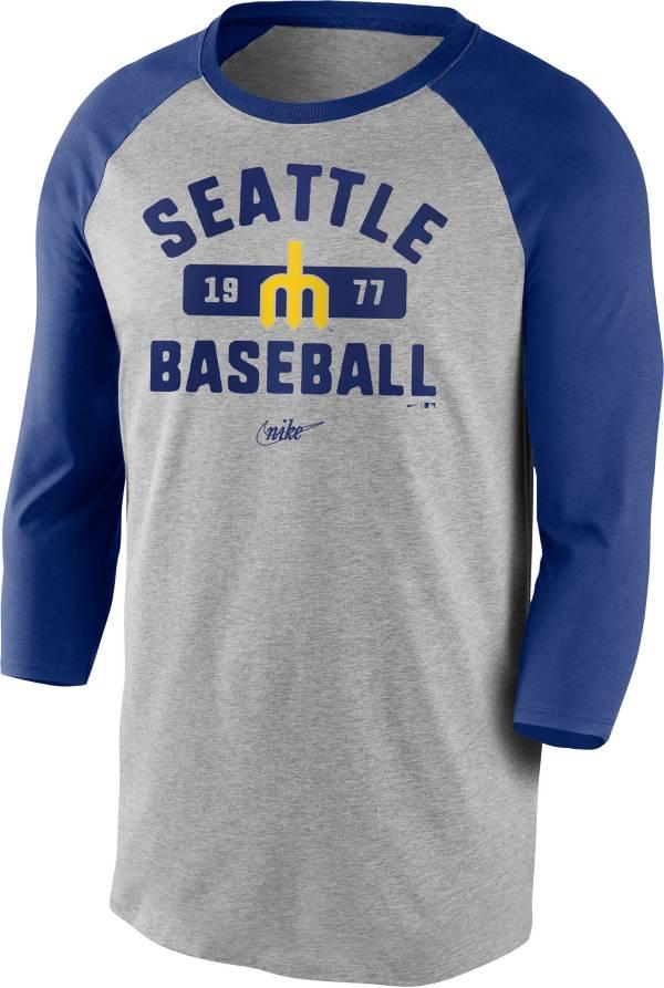 Nike Men's Seattle Mariners Grey Cooperstown Vintage Raglan Three-Quarter Sleeve T-Shirt product image
