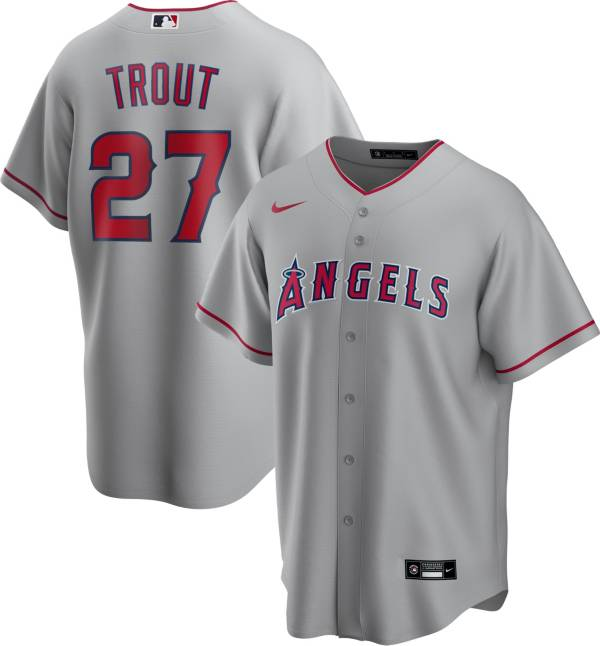 Nike Men's Replica Los Angeles Angels Mike Trout #27 Grey Cool Base Jersey product image
