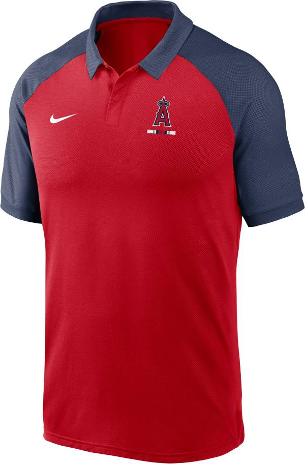 Nike Men's Los Angeles Angels Red Dri-FIT Legacy Raglan Polo product image