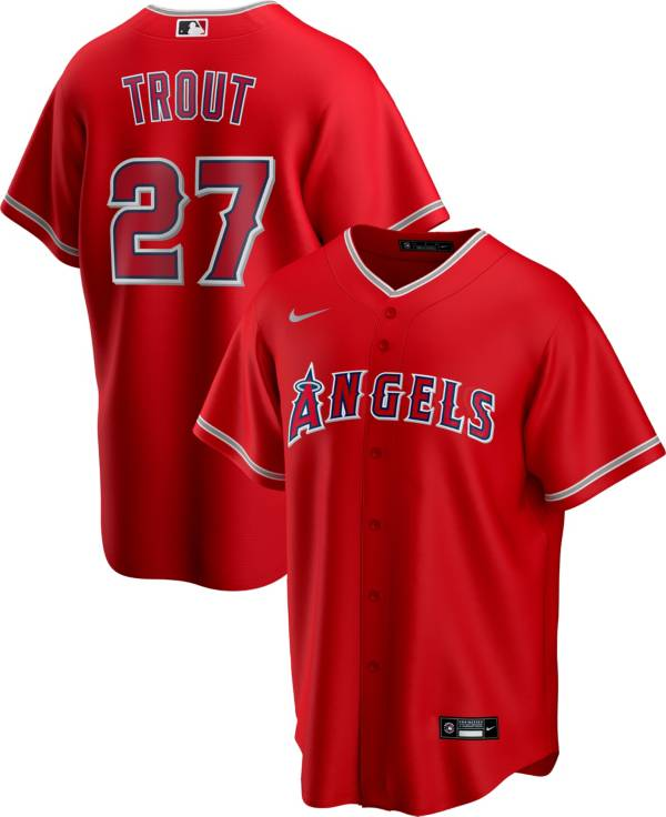 Nike Men's Replica Los Angeles Angels Mike Trout #27 Red Cool Base Jersey product image