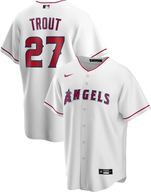 Nike Men's Replica Los Angeles Angels Mike Trout #27 White Cool Base Jersey product image