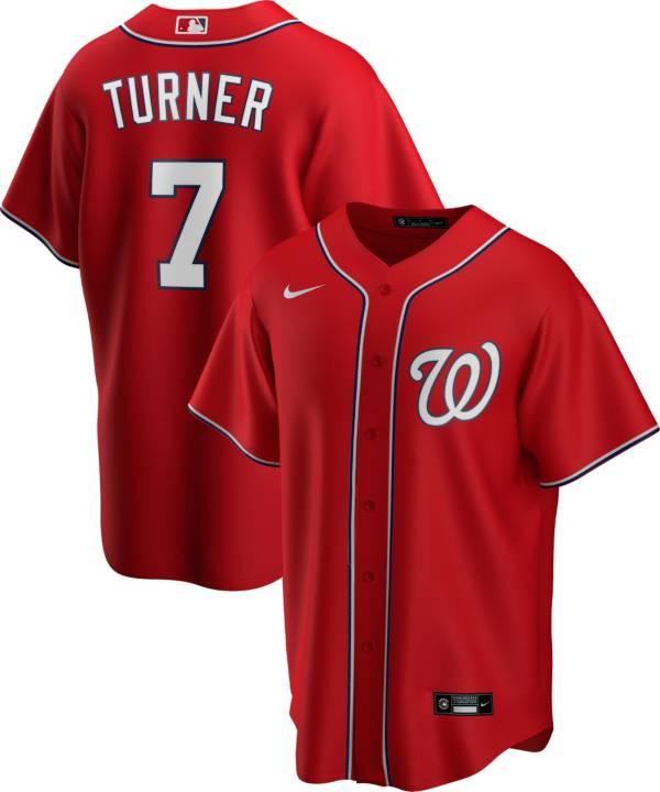 Nike Men's Replica Washington Nationals Trea Turner #7 Red Cool Base Jersey product image