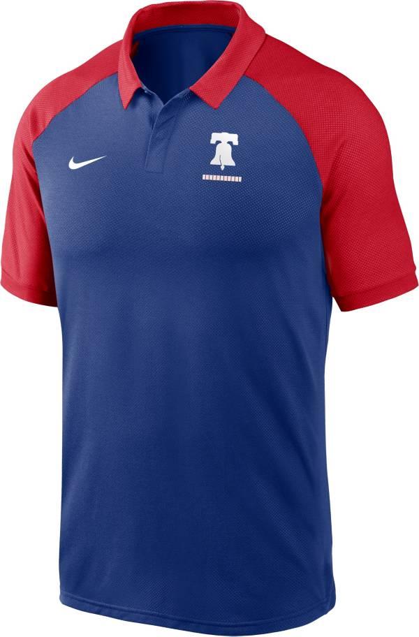 Nike Men's Philadelphia Phillies Blue Dri-FIT Legacy Raglan Polo product image