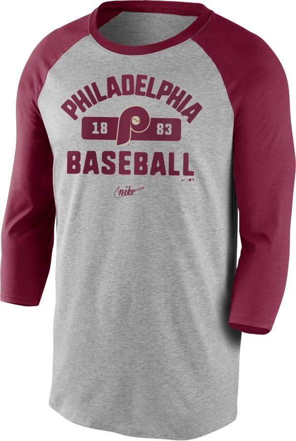 Nike Men's Philadelphia Phillies Grey Cooperstown Vintage Raglan Three-Quarter Sleeve T-Shirt product image