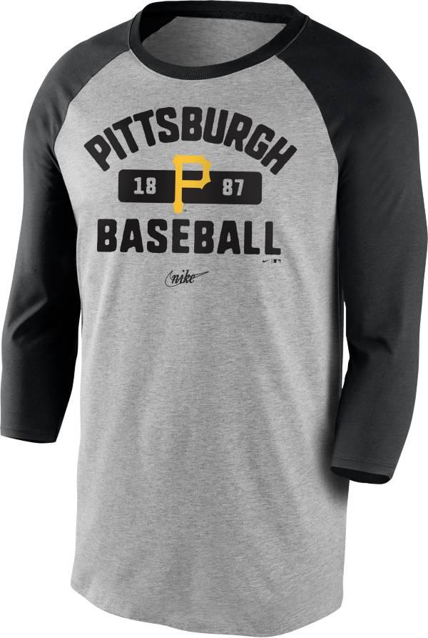 Nike Men's Pittsburgh Pirates Grey Cooperstown Vintage Raglan Three-Quarter Sleeve Shirt product image
