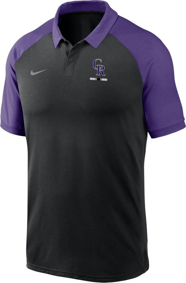 Nike Men's Colorado Rockies Black Dri-FIT Legacy Raglan Polo product image