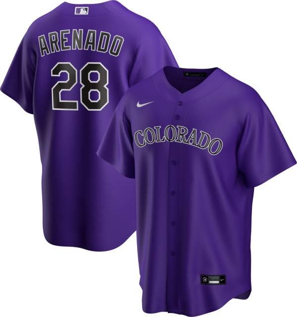 Nike Men's Replica Colorado Rockies Nolan Arenado #28 Purple Cool Base Jersey product image