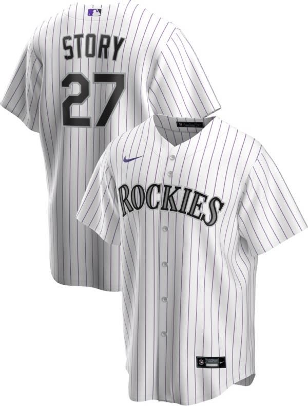 Nike Men's Replica Colorado Rockies Trevor Story #27 White Cool Base Jersey product image