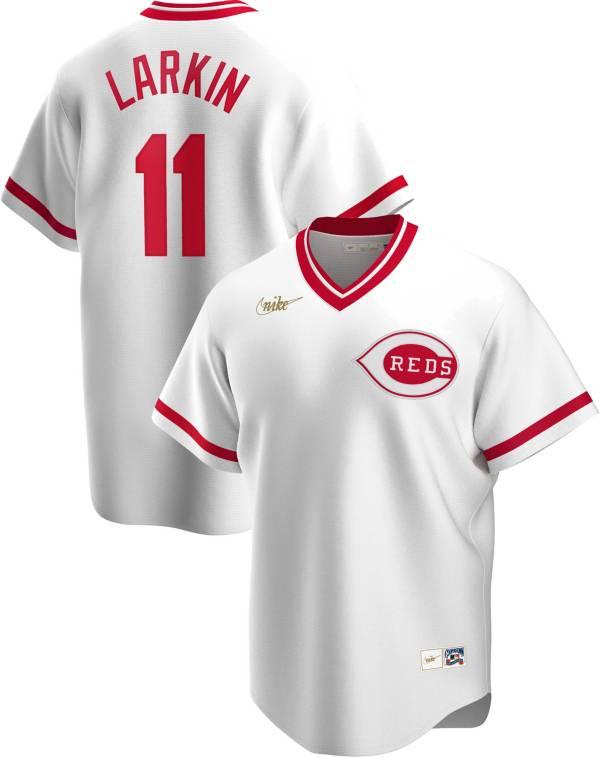 Nike Men's Cincinnati Reds Barry Larkin #11 White Cooperstown V-Neck Pullover Jersey product image