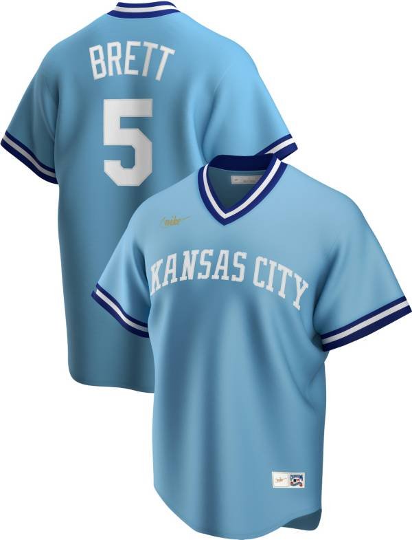 Nike Men's Kansas City Royals George Brett #5 Blue Cooperstown V-Neck Pullover Jersey product image