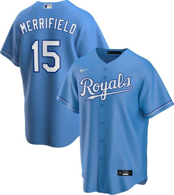 Nike Men's Replica Kansas City Royals Whit Merrifield #15 Royal Cool Base Jersey product image