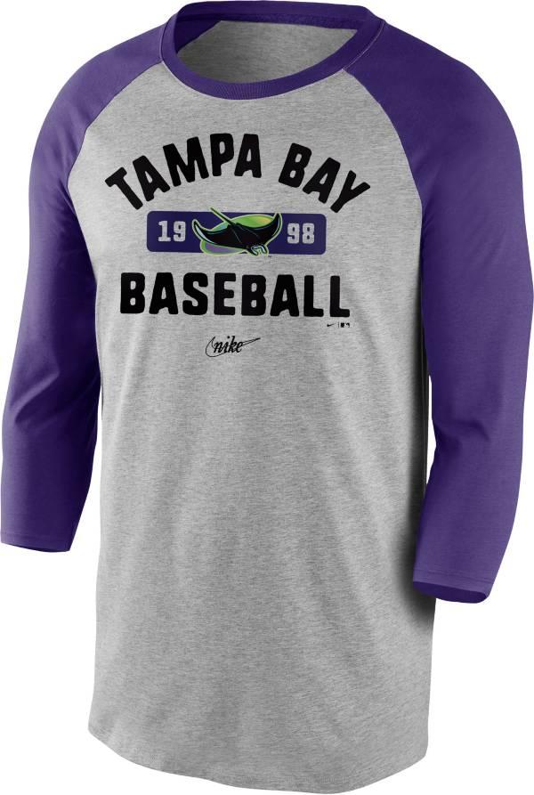 Nike Men's Tampa Bay Rays Grey Cooperstown Vintage Raglan Three-Quarter Sleeve Shirt product image