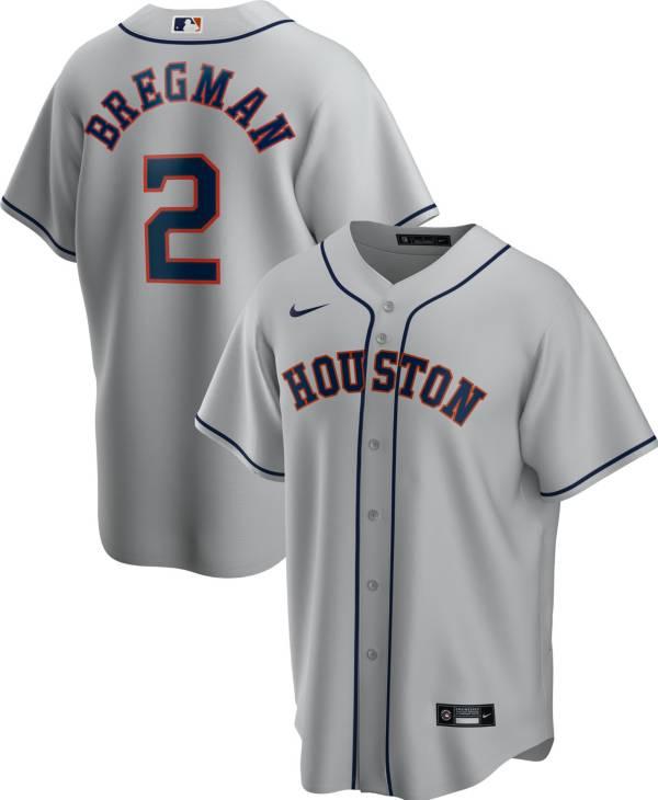 Nike Men's Replica Houston Astros Alex Bregman #2 Grey Cool Base Jersey product image