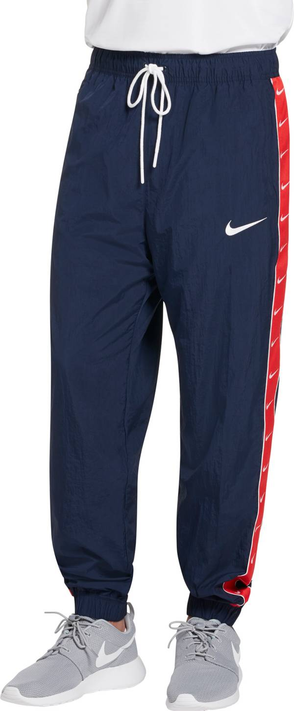 men's nike swoosh zip up hoodie sweatpants set blue