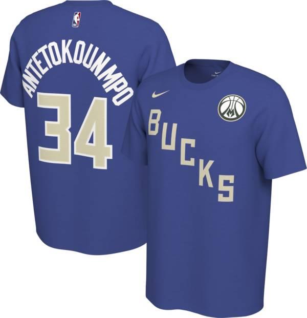 Nike Men's Milwaukee Bucks Giannis Antetokounmpo #34 Dri-FIT Blue Earned Edition T-Shirt product image