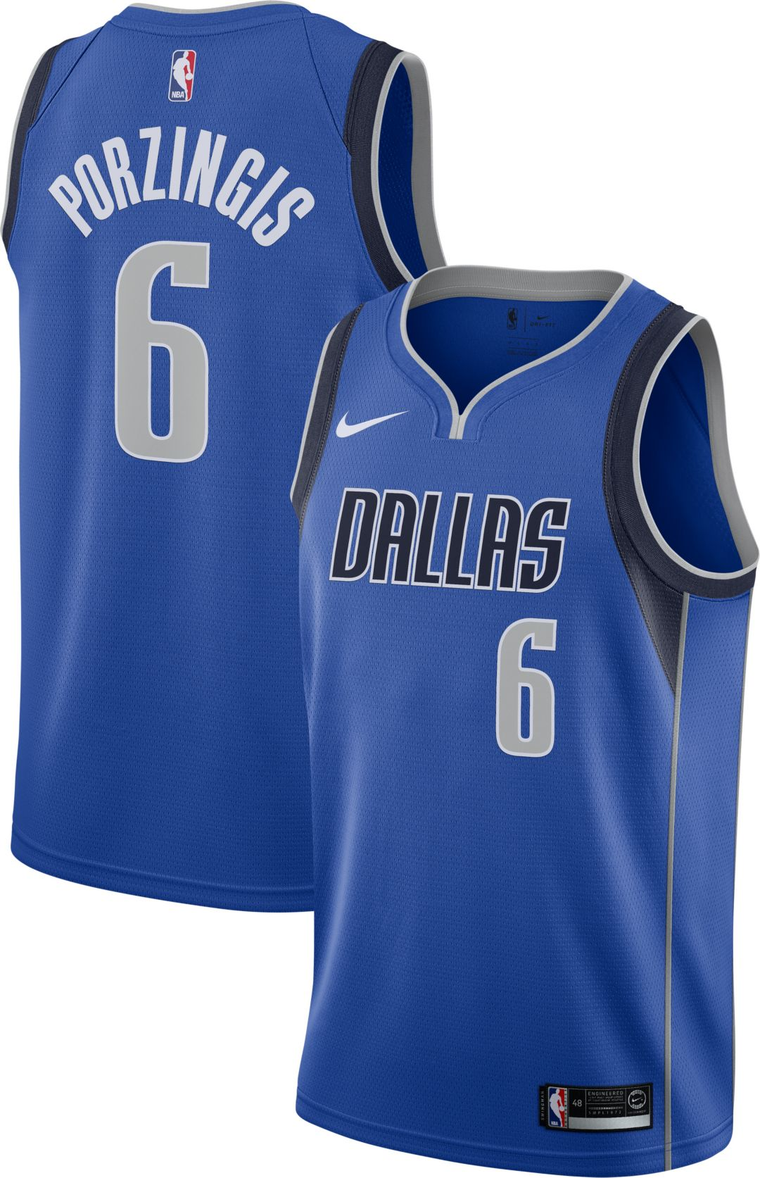 check out b4c74 de599 Nike Men's Dallas Mavericks Kristaps Porzingis #6 Blue Dri-FIT Swingman  Jersey