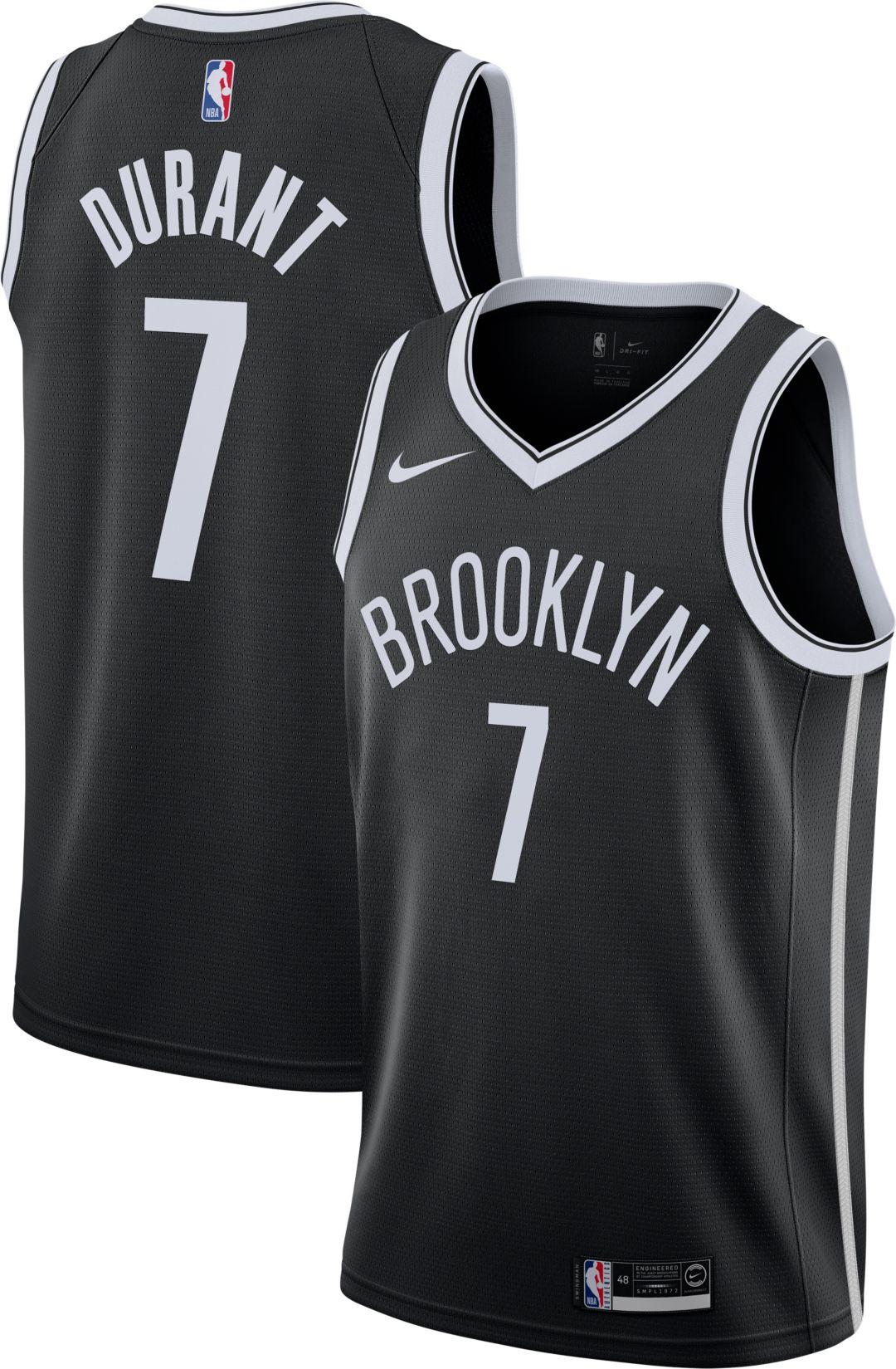 06a21e1c85a Nike Men's Brooklyn Nets Kevin Durant #7 Black Dri-FIT Swingman Jersey