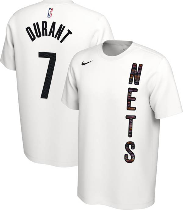 Nike Men's Brooklyn Nets Kevin Durant #7 Dri-FIT White Earned Edition T-Shirt product image