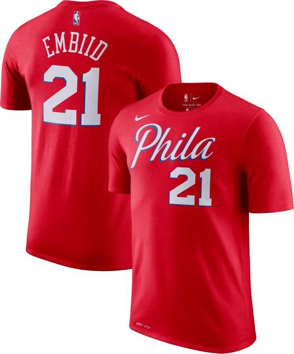 Nike Men's Philadelphia 76ers Joel Embiid #21 Dri-FIT Statement Red T-Shirt product image