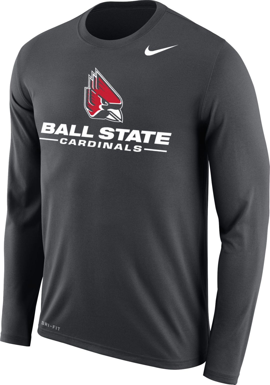 da0efcd2f776e8 Nike Men's Ball State Cardinals Grey Dri-FIT Legend 2.0 Long Sleeve T-Shirt.  noImageFound. 1