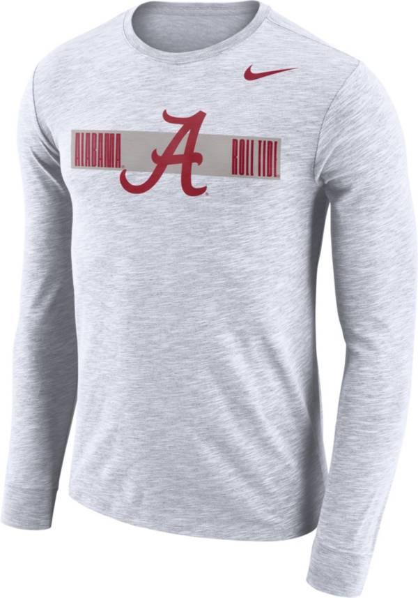 Nike Men's Alabama Crimson Tide Dri-FIT Cotton Slub Logo Long Sleeve White T-Shirt product image