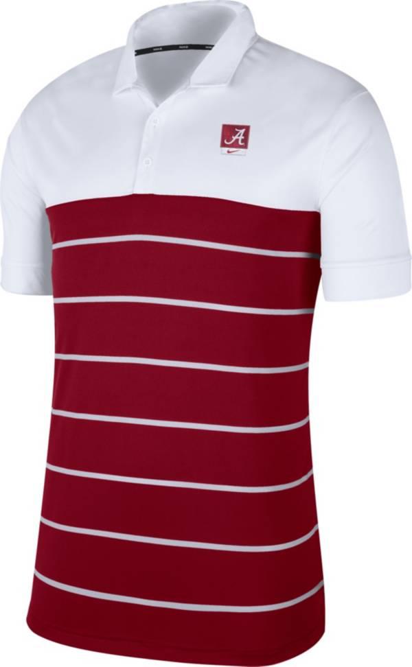 Nike Men's Alabama Crimson Tide White/Crimson Striped Polo product image