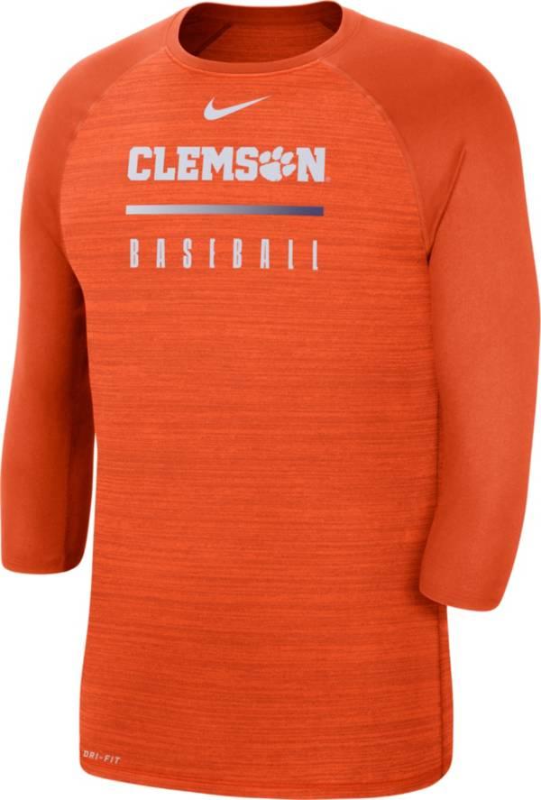 Nike Men's Clemson Tigers Orange Velocity Dri-FIT ¾ Raglan Sleeve Baseball T-Shirt product image