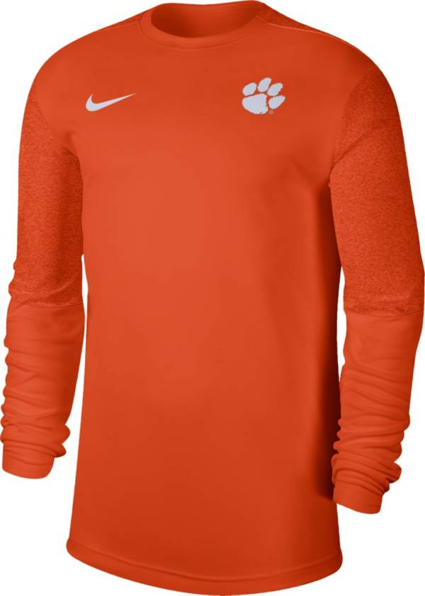 Nike Men's Clemson Tigers Orange Top Coach UV Football Long Sleeve T-Shirt product image