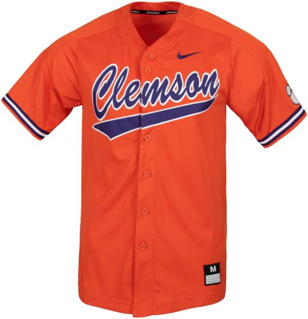 Nike Men's Clemson Tigers Full Button Replica Baseball White Jersey product image