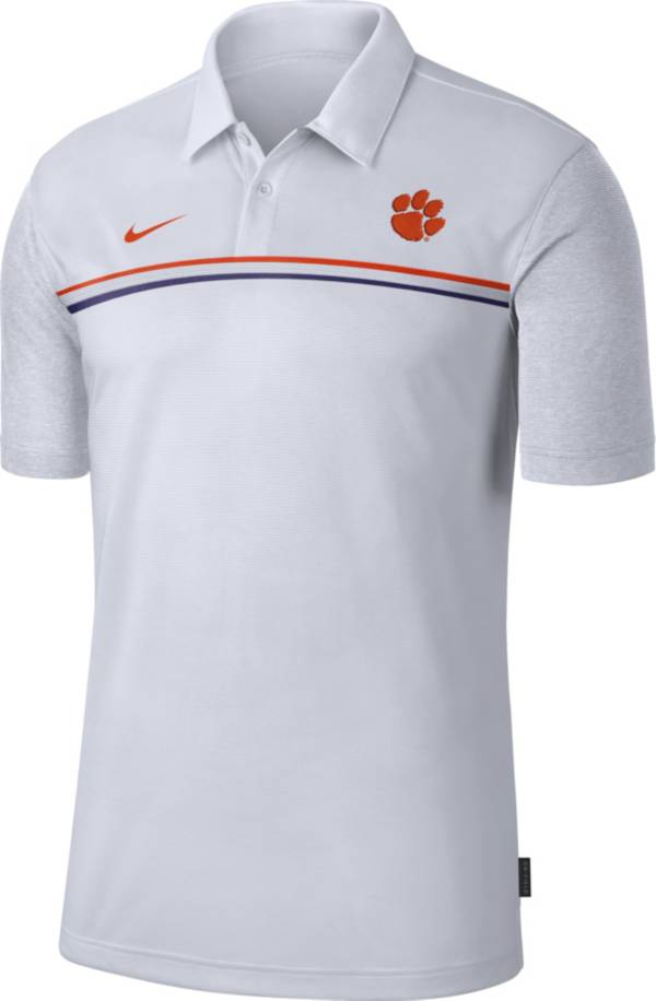 Nike Men's Clemson Tigers Dri-FIT Football Sideline White Polo product image