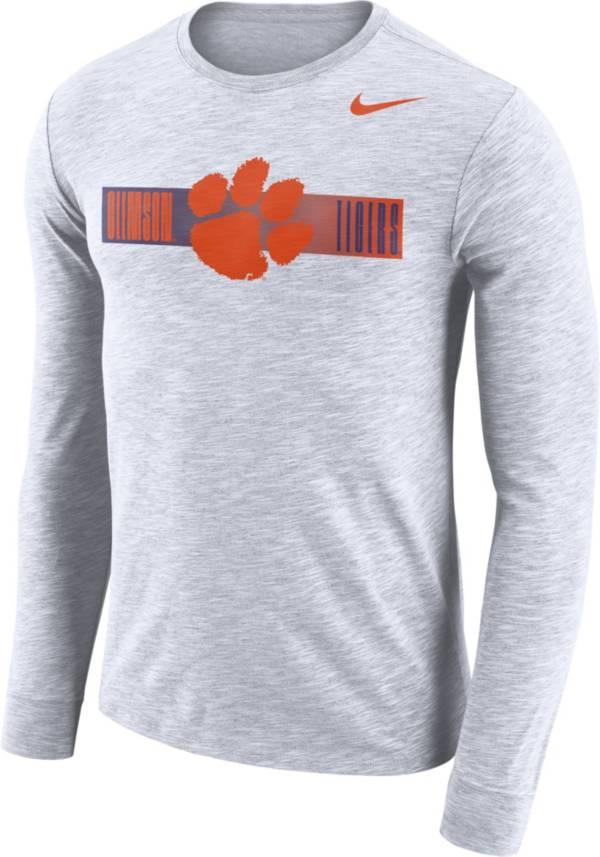 Nike Men's Clemson Tigers Dri-FIT Cotton Slub Logo Long Sleeve White T-Shirt product image