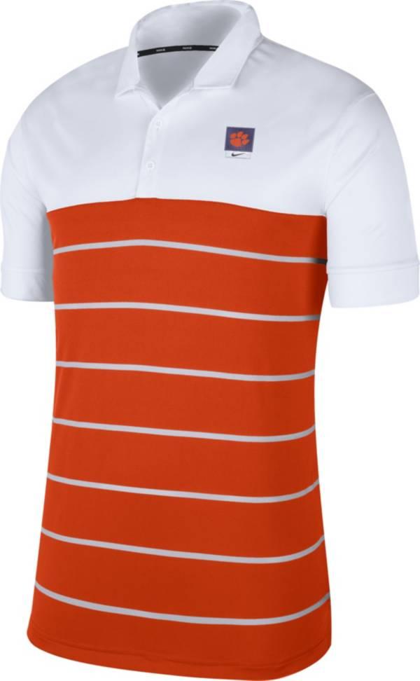 Nike Men's Clemson Tigers White/Orange Striped Polo product image