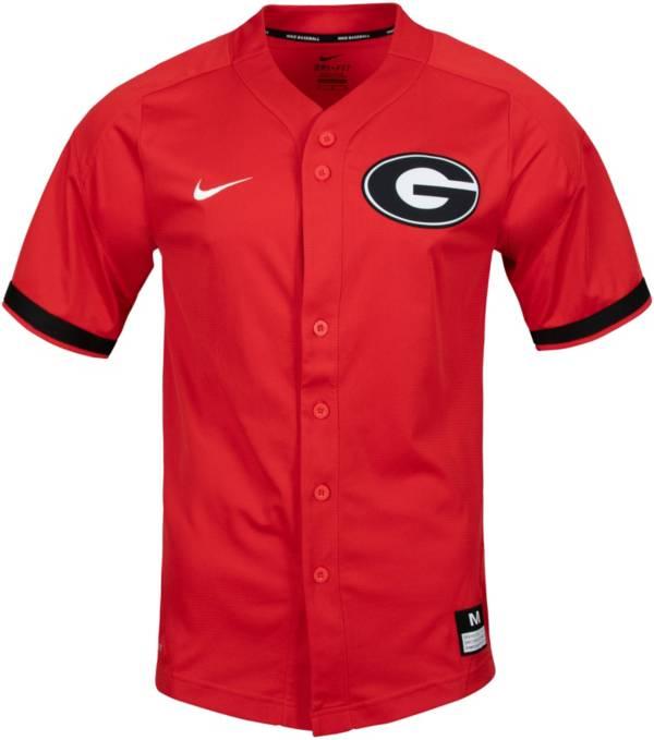 Nike Men's Georgia Bulldogs Red Full Button Replica Baseball Jersey product image