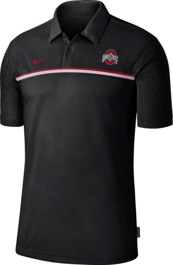 Nike Men's Ohio State Buckeyes Dri-FIT Football Sideline Black Polo product image