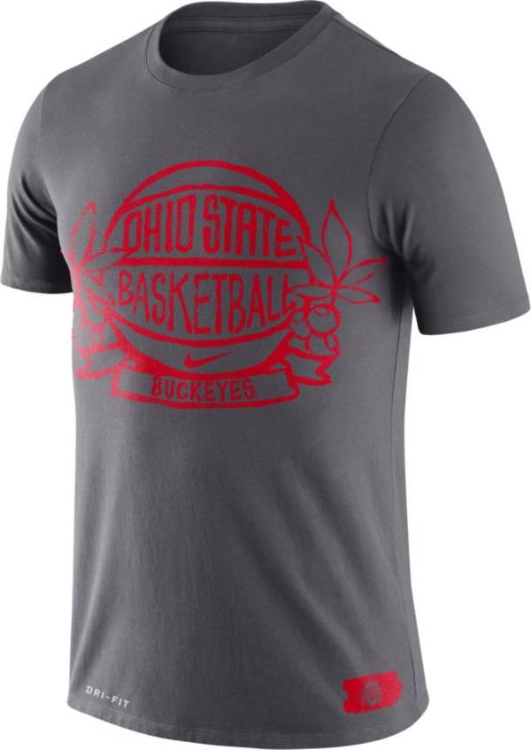 Nike Men's Ohio State Buckeyes Gray Dry Crest Basketball T-Shirt product image