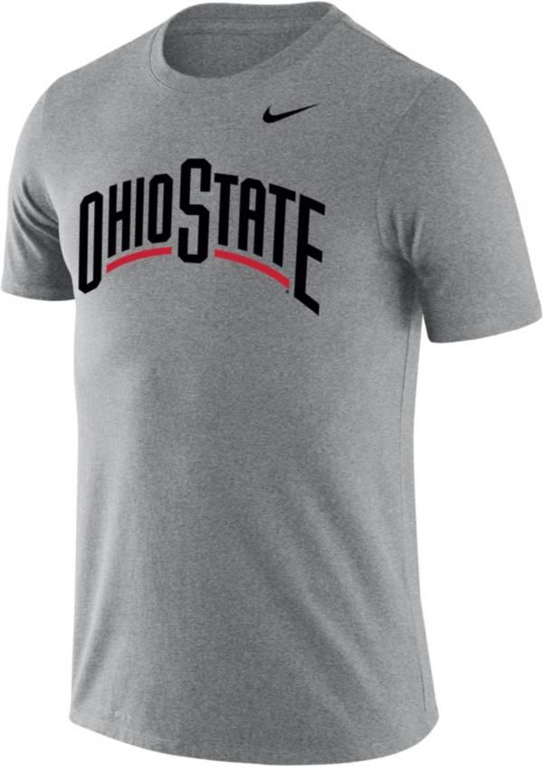 Nike Men's Ohio State Buckeyes Gray Dri-FIT Cotton Word T-Shirt product image