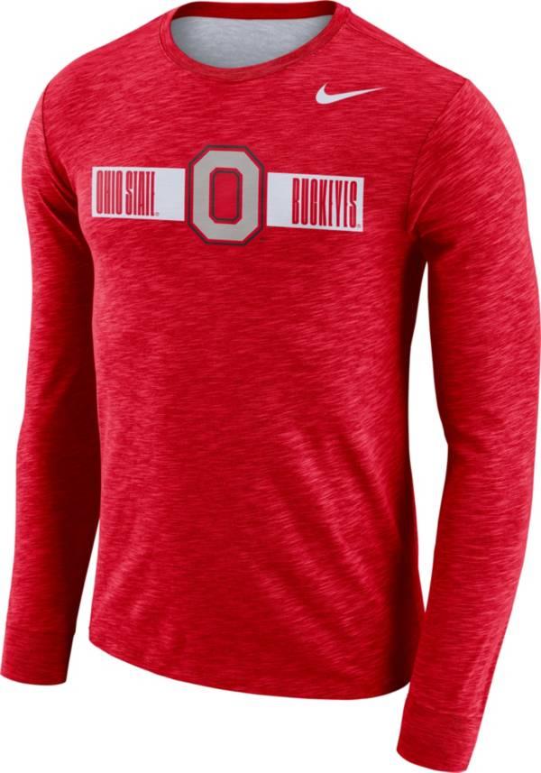 Nike Men's Ohio State Buckeyes Scarlet Dri-FIT Cotton Slub Logo Long Sleeve T-Shirt product image