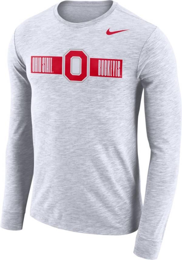 Nike Men's Ohio State Buckeyes Dri-FIT Cotton Slub Logo Long Sleeve White T-Shirt product image