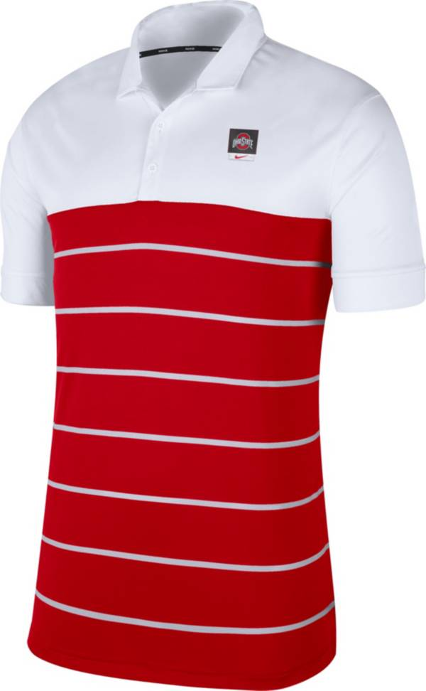 Nike Men's Ohio State Buckeyes White/Scarlet Striped Polo product image