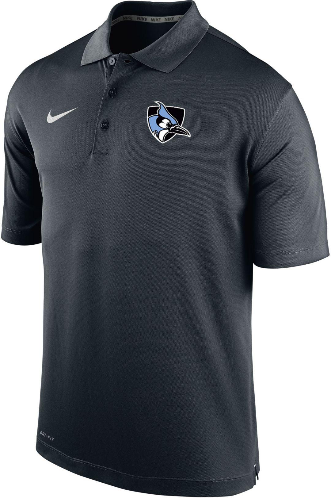 reputable site 0bdaf 3f55b Nike Men's Johns Hopkins Blue Jays Varsity Black Polo