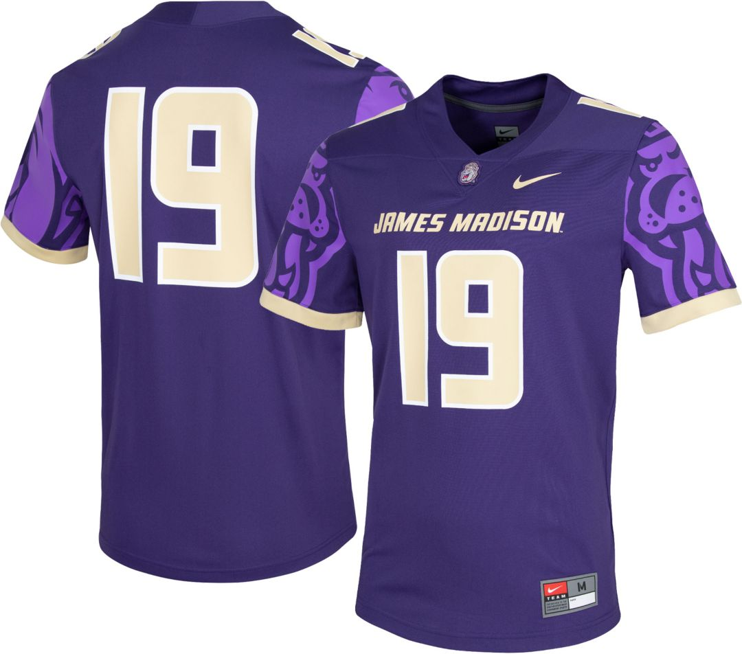 the latest 2414a 35c27 Nike Men's James Madison Dukes #19 Purple Dri-FIT Game Football Jersey