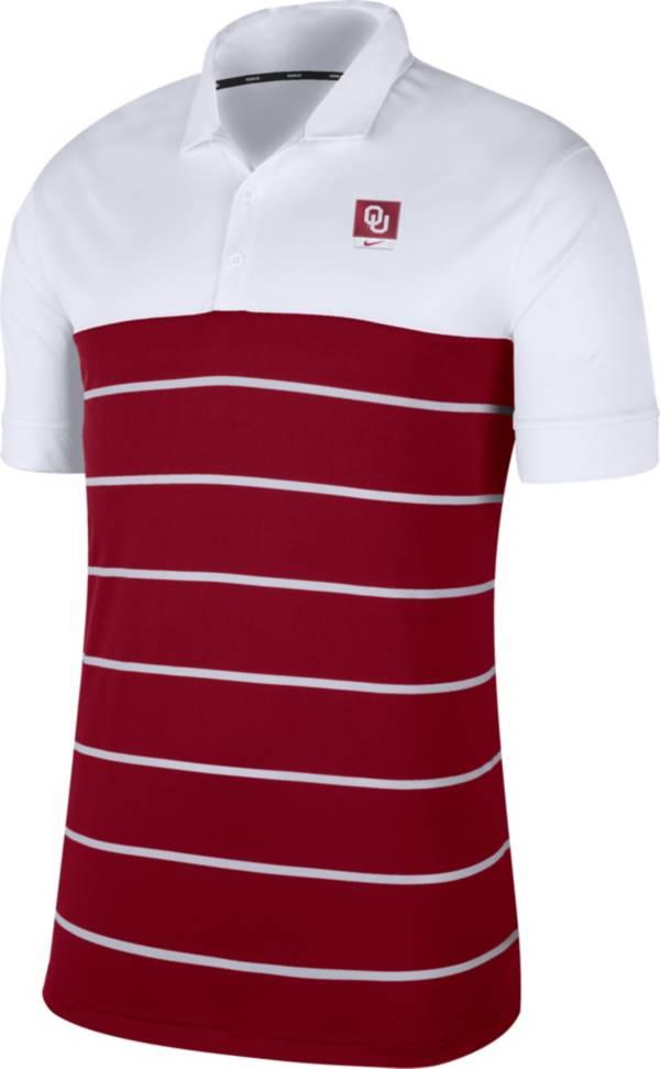Nike Men's Oklahoma Sooners White/Crimson Striped Polo product image