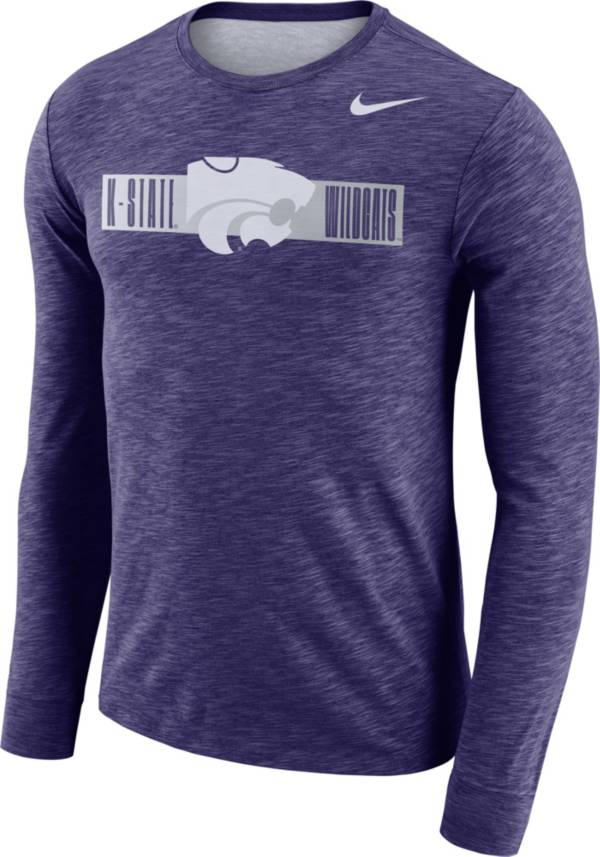Nike Men's Kansas State Wildcats Purple Dri-FIT Cotton Slub Logo Long Sleeve T-Shirt product image