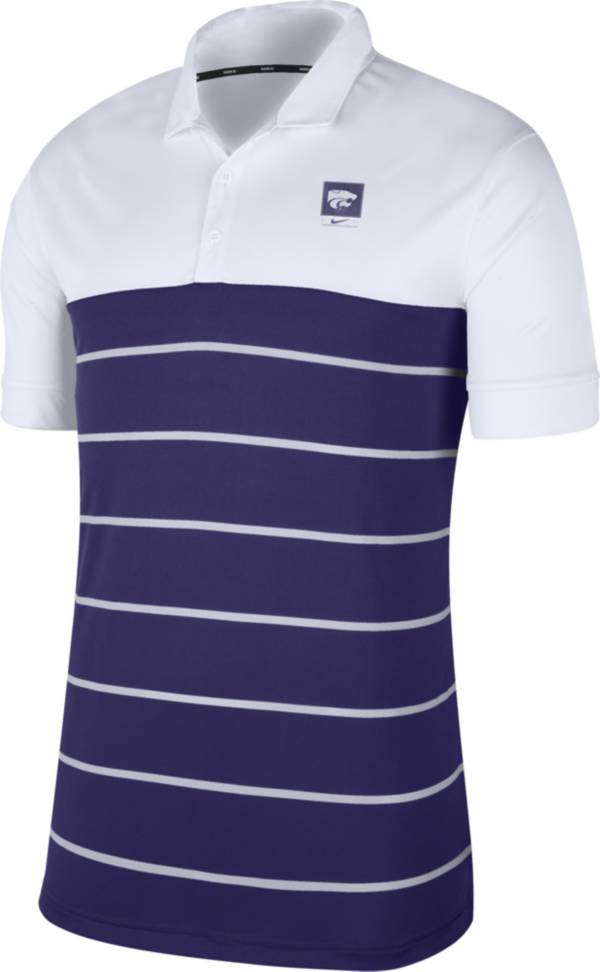 Nike Men's Kansas State Wildcats White/Purple Striped Polo product image